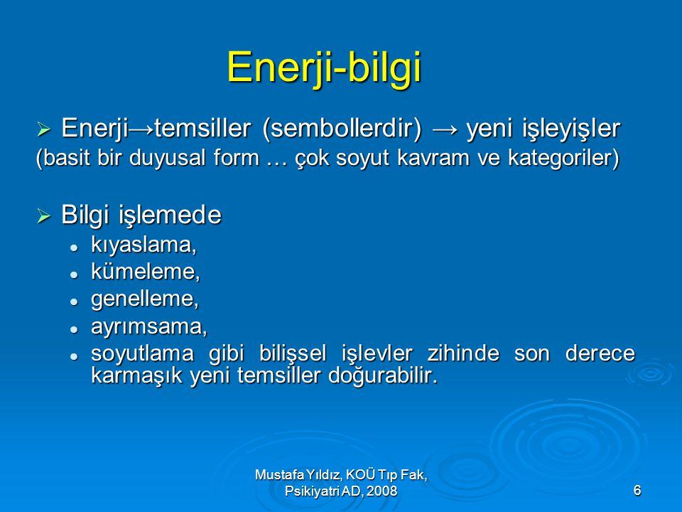 Mustafa Yıldız, KOÜ Tıp Fak, Psikiyatri AD, 20086 Enerji-bilgi  Enerji→temsiller (sembollerdir) → yeni işleyişler (basit bir duyusal form … çok soyut