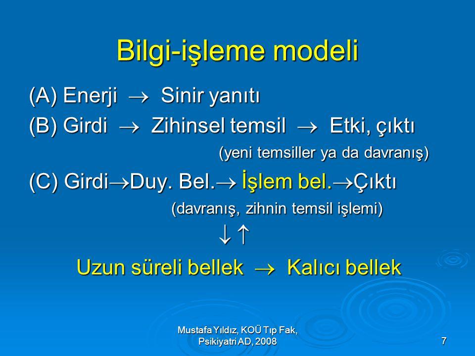 Mustafa Yıldız, KOÜ Tıp Fak, Psikiyatri AD, 20087 Bilgi-işleme modeli (A) Enerji  Sinir yanıtı (B) Girdi  Zihinsel temsil  Etki, çıktı (yeni temsil