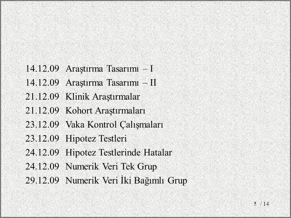 14.12.09Araştırma Tasarımı – I 14.12.09Araştırma Tasarımı – II 21.12.09Klinik Araştırmalar 21.12.09Kohort Araştırmaları 23.12.09Vaka Kontrol Çalışmaları 23.12.09Hipotez Testleri 24.12.09Hipotez Testlerinde Hatalar 24.12.09Numerik Veri Tek Grup 29.12.09Numerik Veri İki Bağımlı Grup / 145