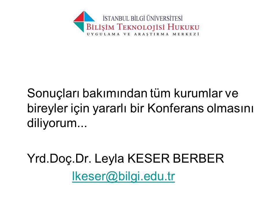 Sonuçları bakımından tüm kurumlar ve bireyler için yararlı bir Konferans olmasını diliyorum... Yrd.Doç.Dr. Leyla KESER BERBER lkeser@bilgi.edu.tr