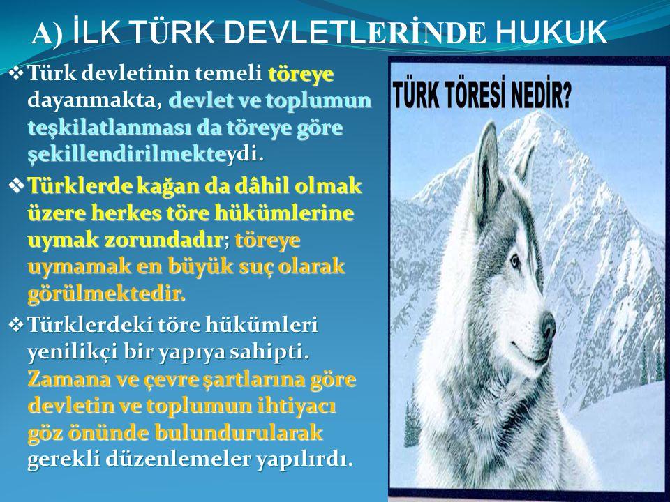  Türk devletinin temeli töreye dayanmakta, devlet ve toplumun teşkilatlanması da töreye göre şekillendirilmekteydi.  Türklerde kağan da dâhil olmak