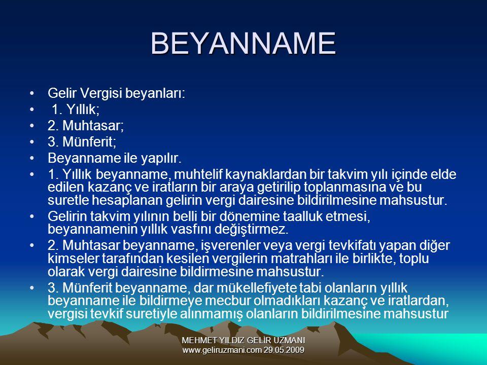 MEHMET YILDIZ GELİR UZMANI www.geliruzmani.com 29.05.2009 BEYANNAME Gelir Vergisi beyanları: 1. Yıllık; 2. Muhtasar; 3. Münferit; Beyanname ile yapılı