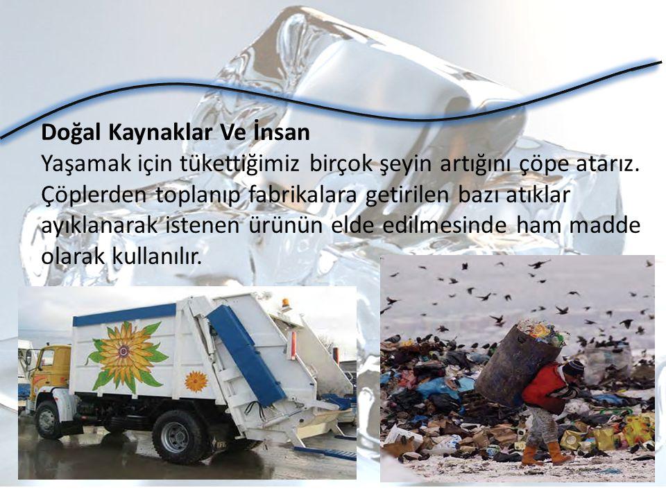Doğal Kaynaklar Ve İnsan Yaşamak için tükettiğimiz birçok şeyin artığını çöpe atarız. Çöplerden toplanıp fabrikalara getirilen bazı atıklar ayıklanara