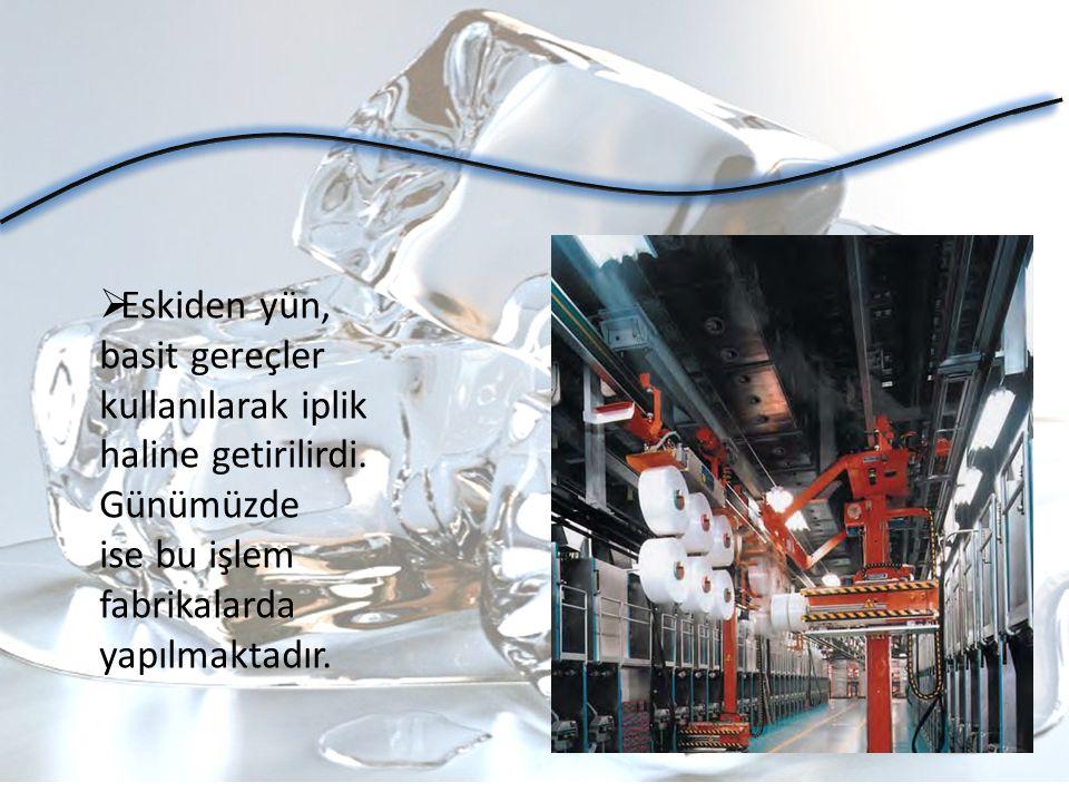  Eskiden yün, basit gereçler kullanılarak iplik haline getirilirdi. Günümüzde ise bu işlem fabrikalarda yapılmaktadır.