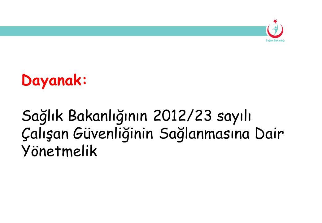 Dayanak: Sağlık Bakanlığının 2012/23 sayılı Çalışan Güvenliğinin Sağlanmasına Dair Yönetmelik