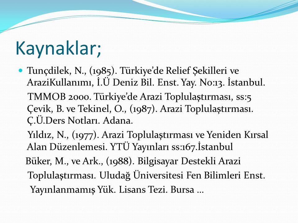 Kaynaklar; Tunçdilek, N., (1985). Türkiye'de Relief Şekilleri ve AraziKullanımı, İ.Ü Deniz Bil. Enst. Yay. No:13. İstanbul. TMMOB 2000. Türkiye'de Ara