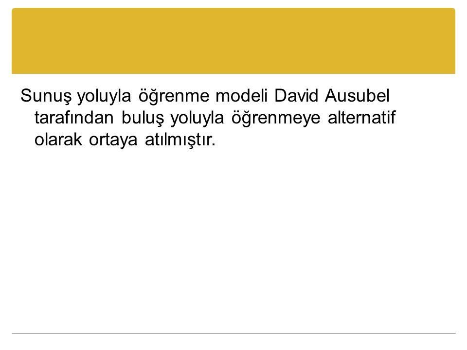 Sunuş yoluyla öğrenme modeli David Ausubel tarafından buluş yoluyla öğrenmeye alternatif olarak ortaya atılmıştır.