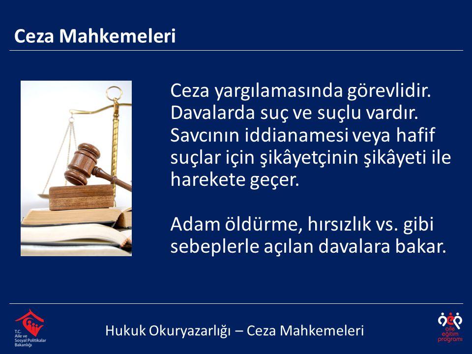 Hukuk Okuryazarlığı – Ceza Mahkemeleri Ceza yargılamasında görevlidir. Davalarda suç ve suçlu vardır. Savcının iddianamesi veya hafif suçlar için şikâ