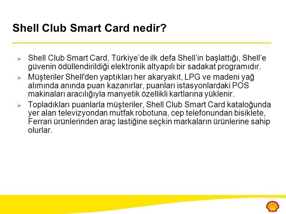 Mesajlar  Shell, müşterilerinin beklenti ve ihtiyaçlarını yakından takip ederek onlara özel çözümler sunuyor  Dinamik ve yenilikçi yapısı ile Shell müşteri memnuniyetine yönelik yeni proje yatırımları yapıyor  Shell Club Smart Card, şu ana kadar akaryakıt sektöründe uygulanan kapsamlı ilk ödül programıdır  Shell Club Smart Card müşterilerinin güvenini ödüllendiriyor  Shell Club Smart Card, dönemsel bir kampanya değil uzun soluklu bir ödül programıdır