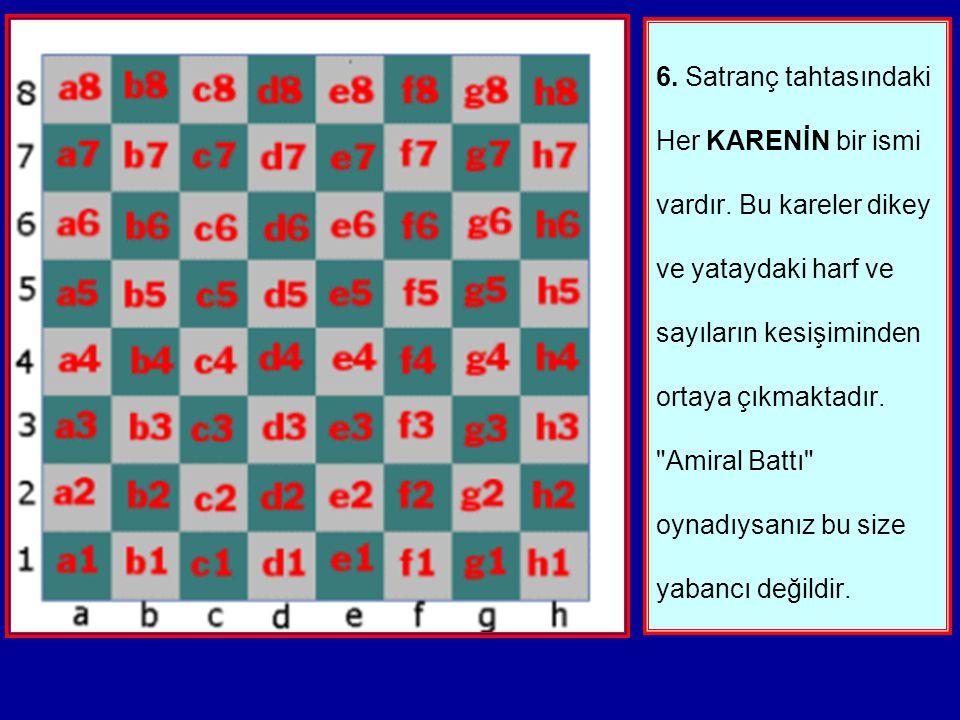 5.İşte bir satranç tahtası. Dikkatliyseniz kenarlardaki numaraları ve harfleri fark etmişsinizdir. Her yatayda A'dan H'a kadar harfler vardır. Ve her