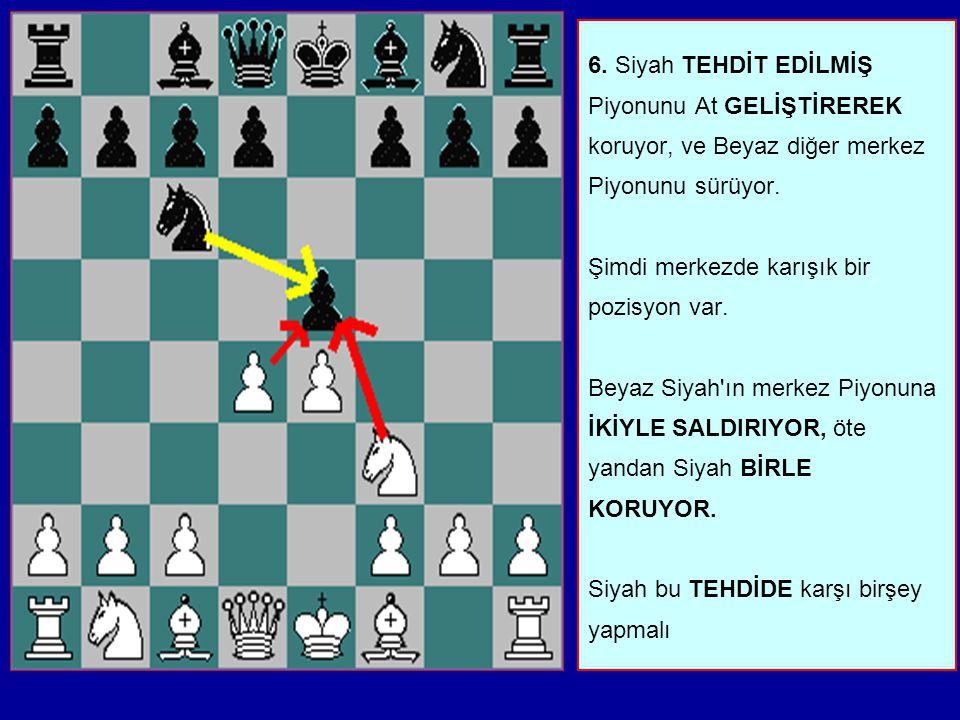 5. İki oyuncu da merkeze Er sürerek oyuna başlamışlardır. Sonra Beyaz Atını geliştirir, ve Piyonu TEHDİT EDER. Siyah bu konuda birşey yapmalıdır. Piyo