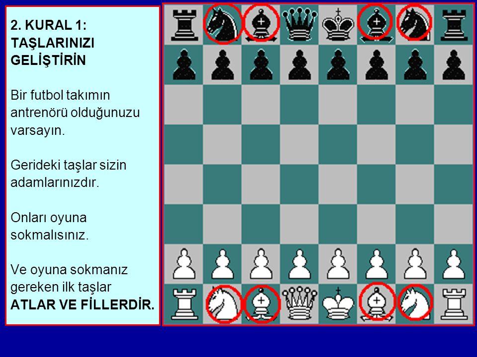 1. Satranç oynarken,ilk hamleleri doğru yapmak ÇOK, ÇOK ÖNEMLİDİR. Eğer bunu başarabilirseniz oyunun geri kalan bölümü kolaylaşır. Size yardımcı olaca