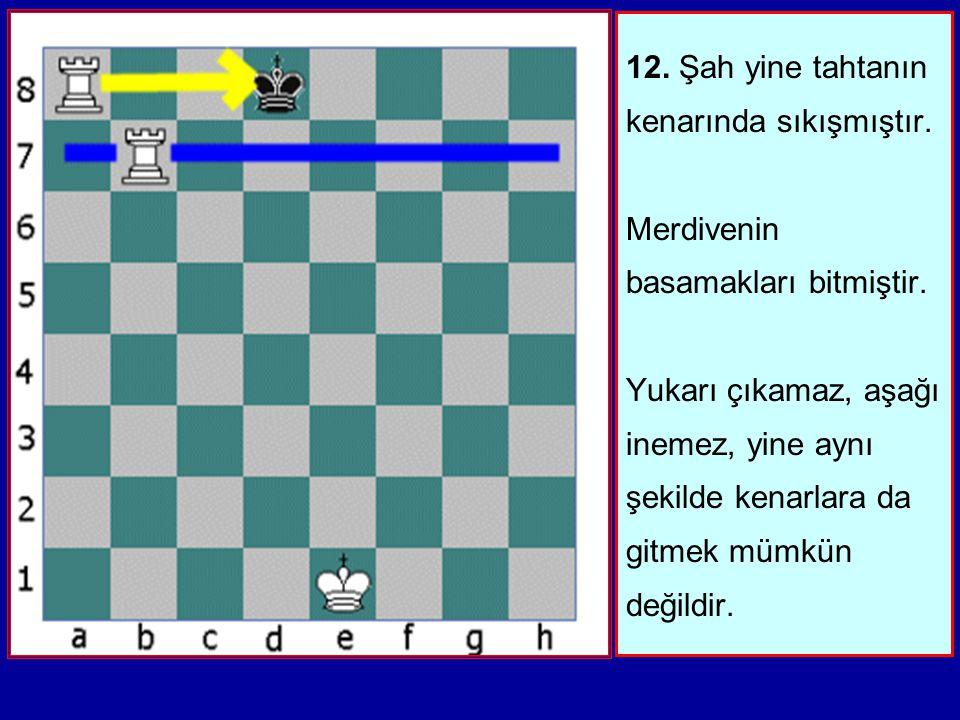 11. İkinci Kale de bir basamak çıkar ve Şaha ateş açar. Oyun neredeyse bitmiştir. Siyah Şahın tahtanın en kenarına gitmekten başka çaresi yoktur. Bir