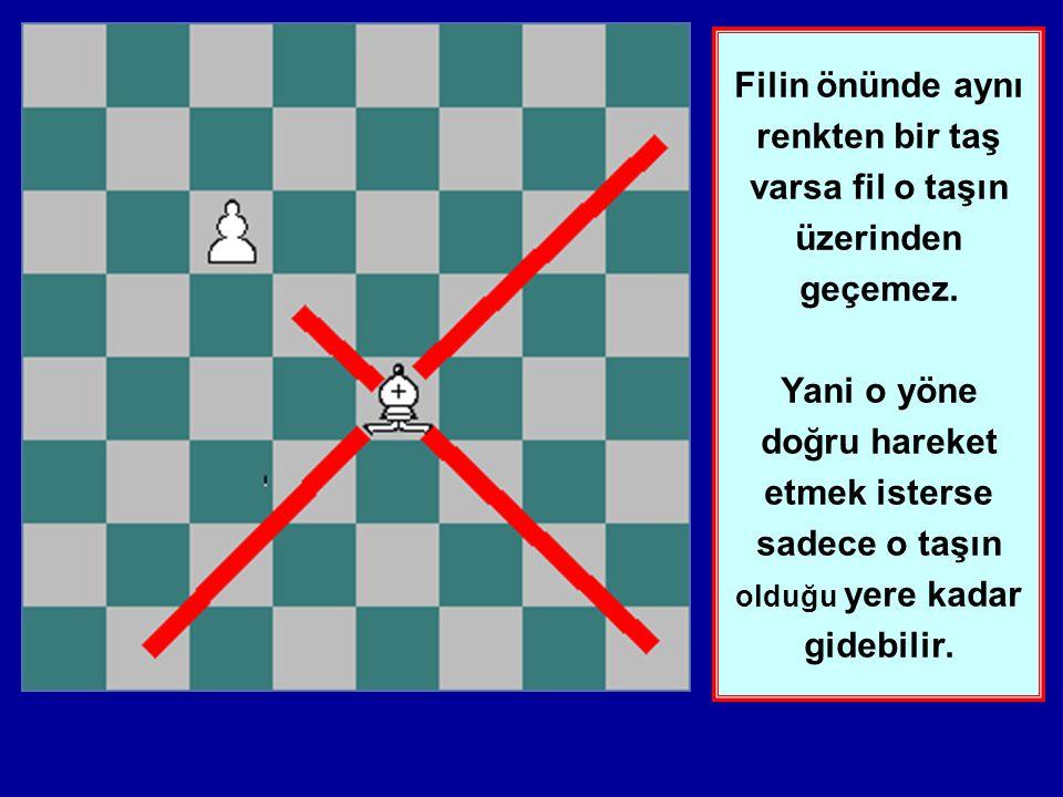 Bu ders Filin hareketlerini öğretecektir. Fil çapraz (diagonal) olarak istediği miktarda hareket eder. Filin hep aynı renkteki karelerde gidebildiğine