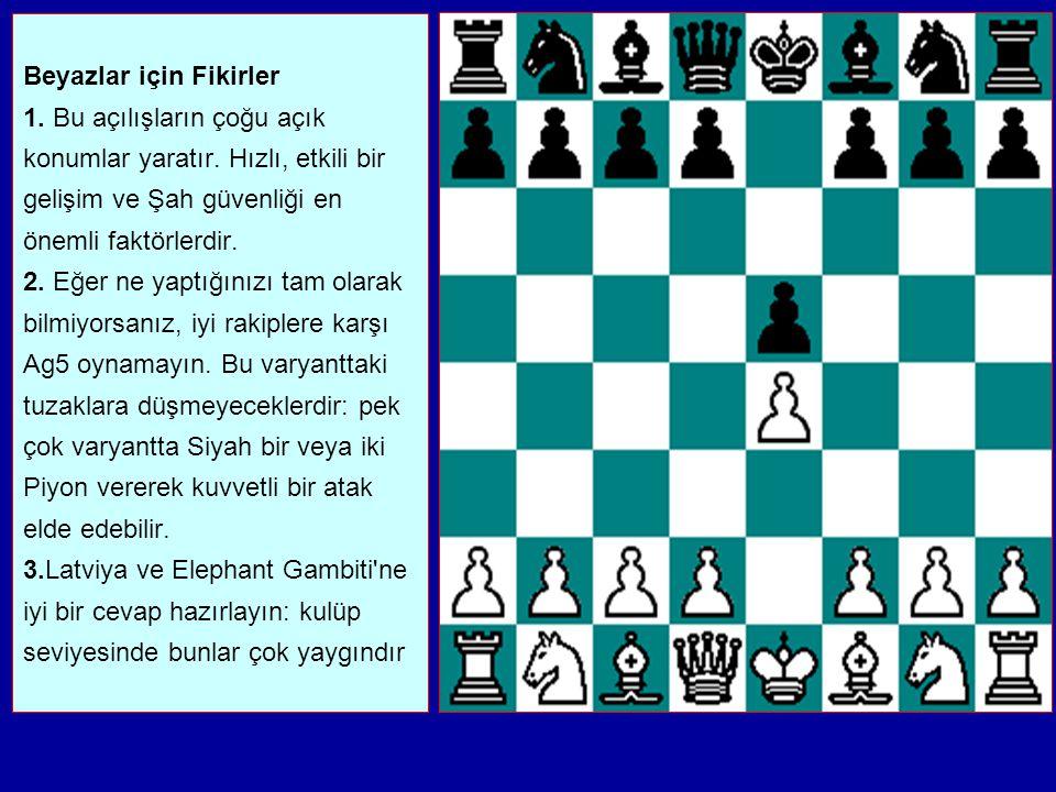 Bu açılışların çoğu şu üç kategoriden birisine girer: 1. Beyaz d4 ile merkezi yarma için oynar (İskoç Açılışı, Ponziani, İki At Savunması'nın İtalyan