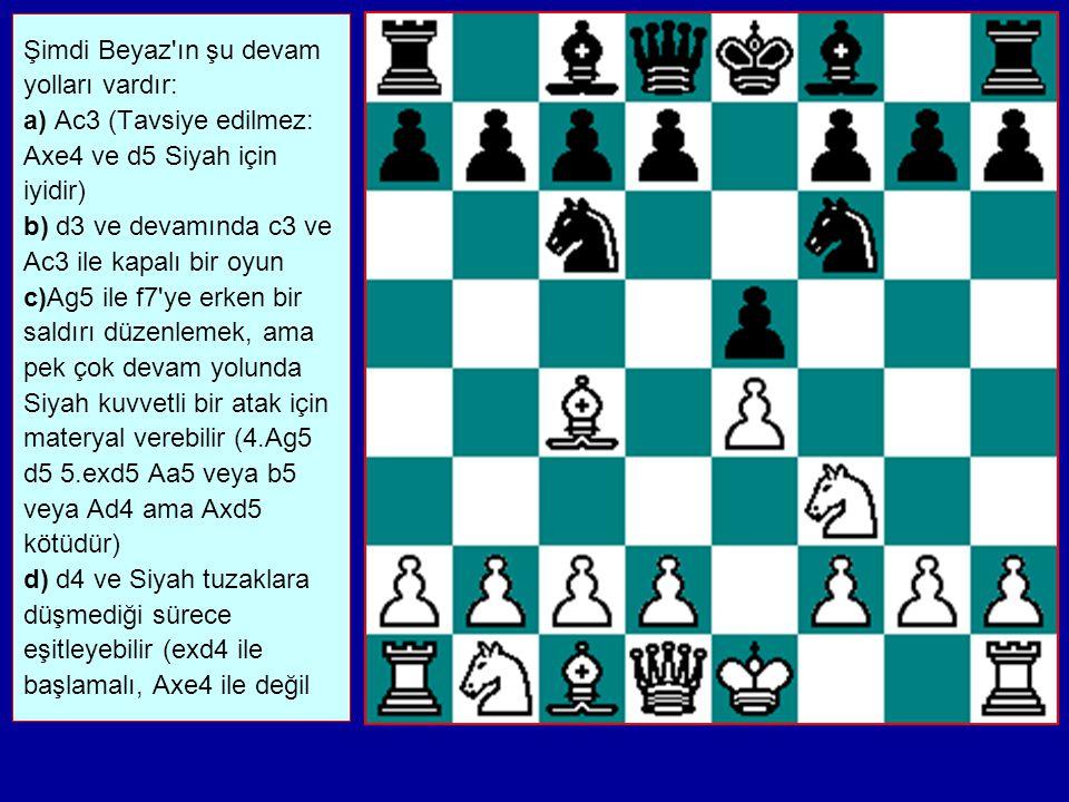 İKİ AT SAVUNMASI 1.e2-e4 e7-e5 2.Ag1-f3 Ab8- c6 3.Ff1-c4 Ag8- f6
