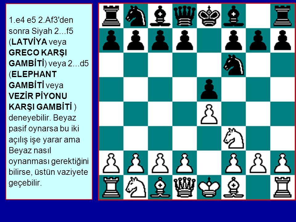 a) Af6, Abd7, c6 ve Fe7 ile defansif bir varyant b) 3...exd4 4.Axd4 (Vxd4'de iyidir) c) 3...f5 riskli ve keskin bir devam yoludur.