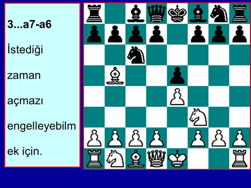 Belirtilmesi gereken ilk nokta, Beyaz'ın henüz e Piyonunu tehdit etmediğidir. Eğer Fb5xc6 d7xc6 Af3xe5 oynarsa, Siyah bir Vezir çatalıyla Piyonu geri