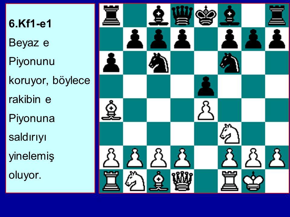 5...Ff8-e7 Af6xe4 Açık Varyant'tır: Siyah Piyonu alabilir ama koruyamaz. Bunun yerine e hattını kapatarak şimdi gerçekten e Piyonunu tehdit ediyor.