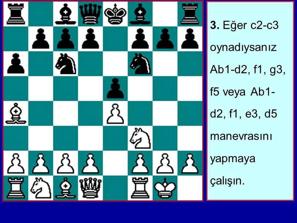 2. d2-d4'den önce Ab1-c3 oynamayın. Eğer Siyah erken d7-d6 oynarsa d2-d4 sürüp ardından Ab1- c3 ile devam edebilirsiniz. Aksi halde c2-c3 ve d2- d4 il