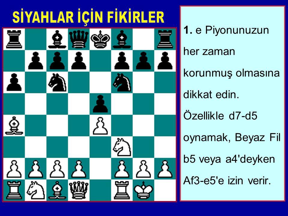 6. Şu tuzağı unutmayın: Eğer Beyaz Veziriyle d4'ü alırsa, Siyah c5 oynarak Veziri isteyebilir ve c5-c4 ile Fili düşürebilir.