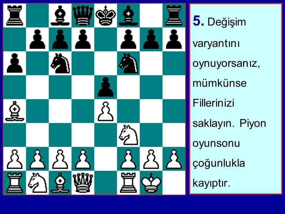 4. Oyun ortasında Beyaz'ın merkezine c7-c5 veya d7-d5 ile saldırmanın yollarını arayın.