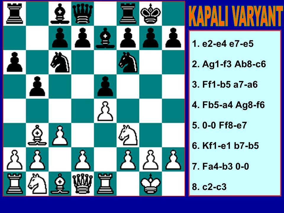 6.Kf1-e1 en basit hamledir ama oyun genelde 6.d2-d4 b7- b5 (e5xd4 çok tehlikelidir) 7.Fa4-b3 d7-d5 8.d4xe5 Fc8- e6 devam eder. bu konumda Siyah'ın akt
