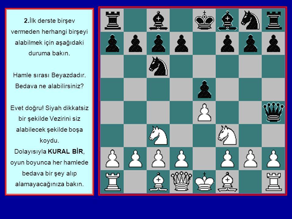 1. Satranççılar arasında BEDAVA veya BOŞTA kavramı vardır. Kendi rengindeki bir taş tarafından korunmayan ve rakibin alabileceği taşlara denir. Eğer r