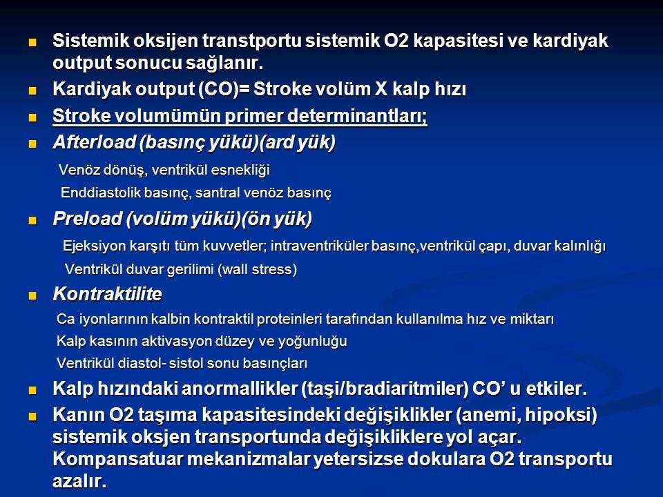 Sistemik oksijen transtportu sistemik O2 kapasitesi ve kardiyak output sonucu sağlanır. Sistemik oksijen transtportu sistemik O2 kapasitesi ve kardiya