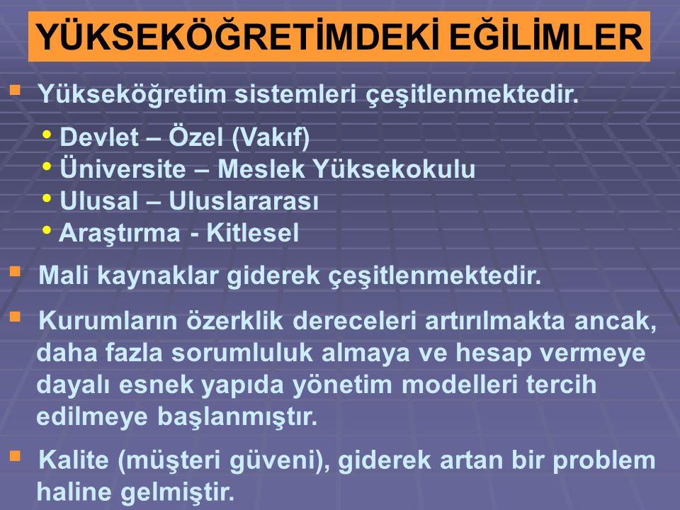 YÜKSEKÖĞRETİMDEKİ EĞİLİMLER  Yükseköğretim sistemleri çeşitlenmektedir.