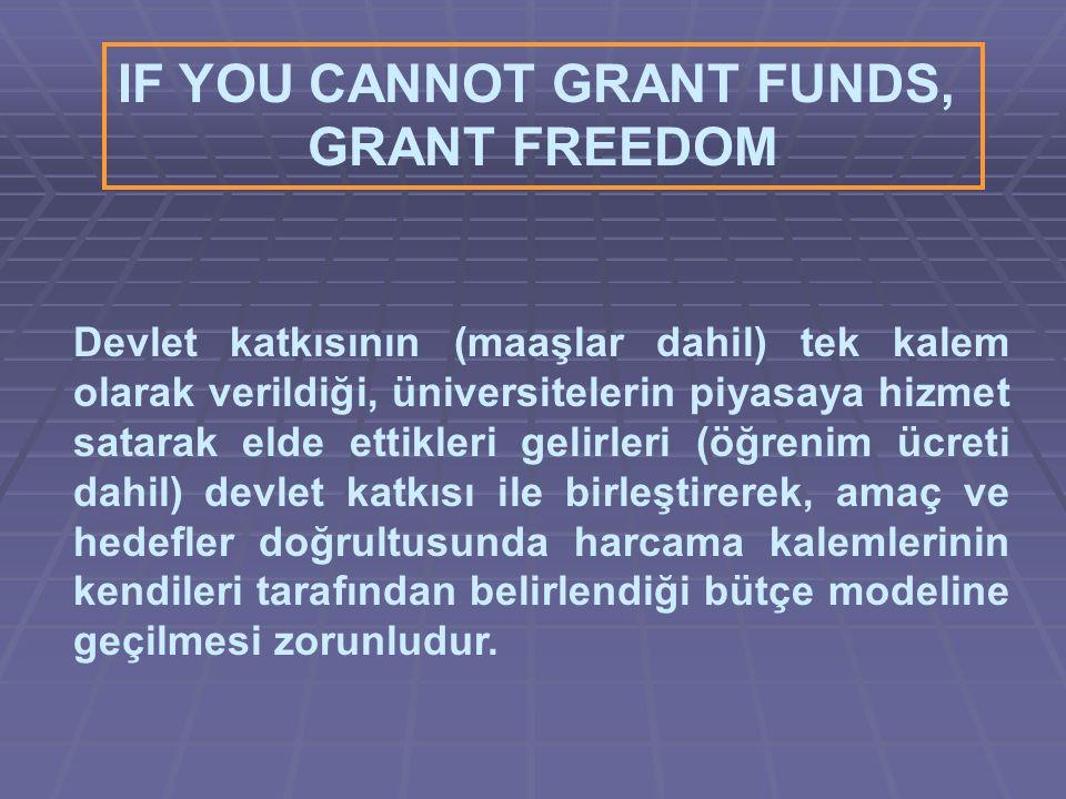 IF YOU CANNOT GRANT FUNDS, GRANT FREEDOM Devlet katkısının (maaşlar dahil) tek kalem olarak verildiği, üniversitelerin piyasaya hizmet satarak elde ettikleri gelirleri (öğrenim ücreti dahil) devlet katkısı ile birleştirerek, amaç ve hedefler doğrultusunda harcama kalemlerinin kendileri tarafından belirlendiği bütçe modeline geçilmesi zorunludur.