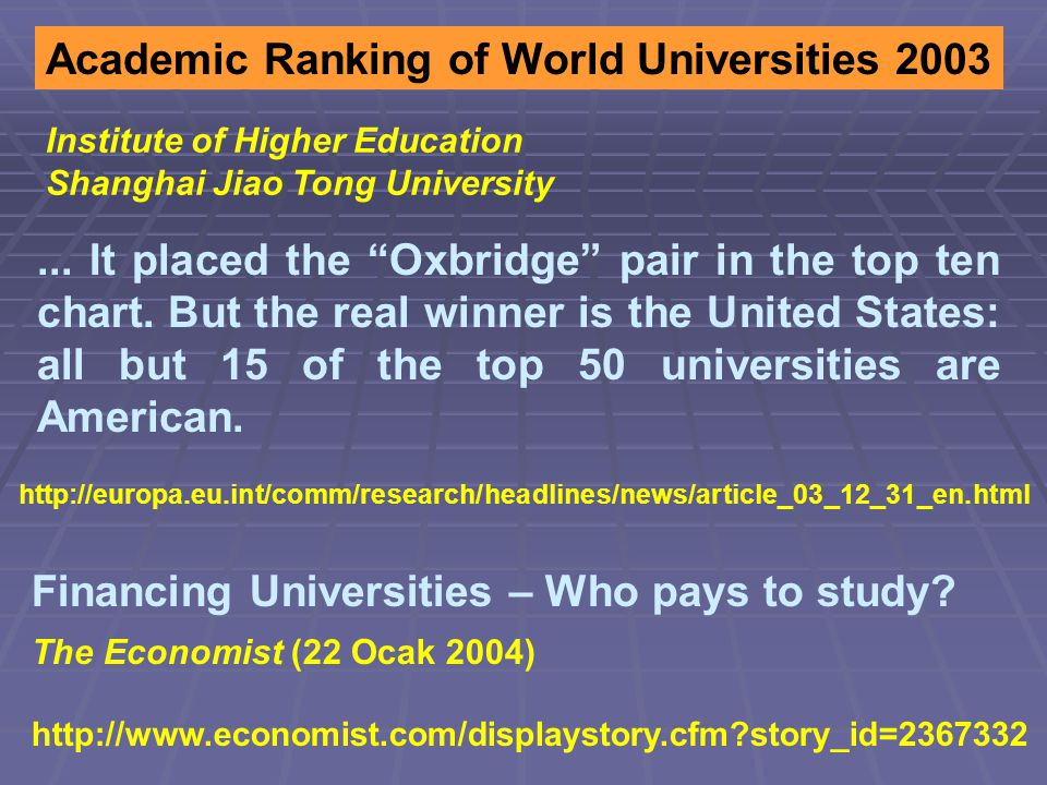 Financing Universities – Who pays to study.