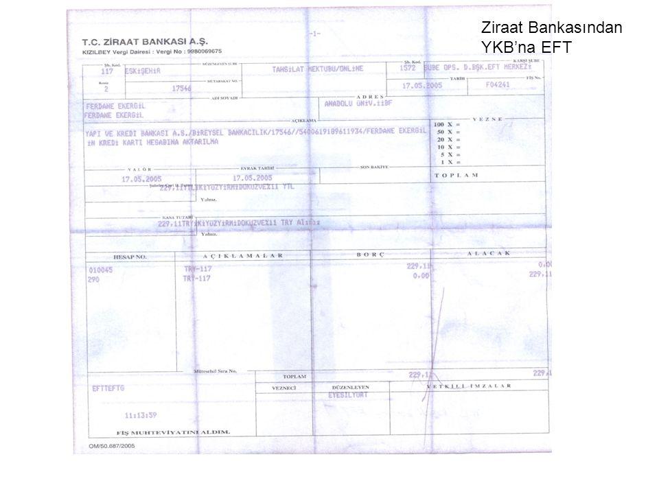 Ziraat Bankasından YKB'na EFT