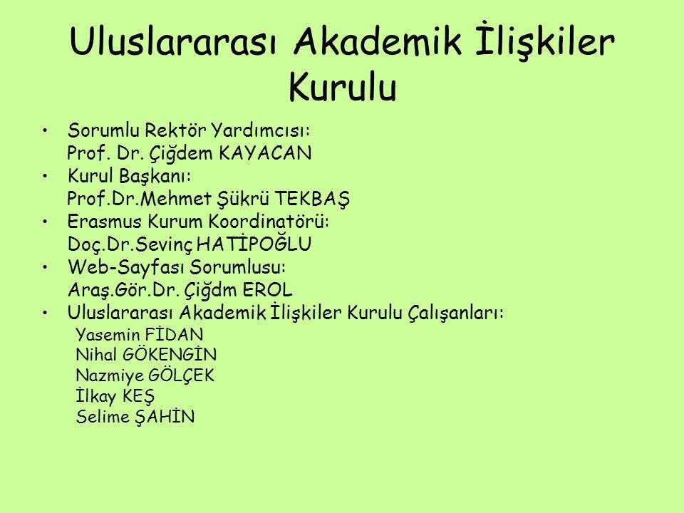 Uluslararası Akademik İlişkiler Kurulu Sorumlu Rektör Yardımcısı: Prof.