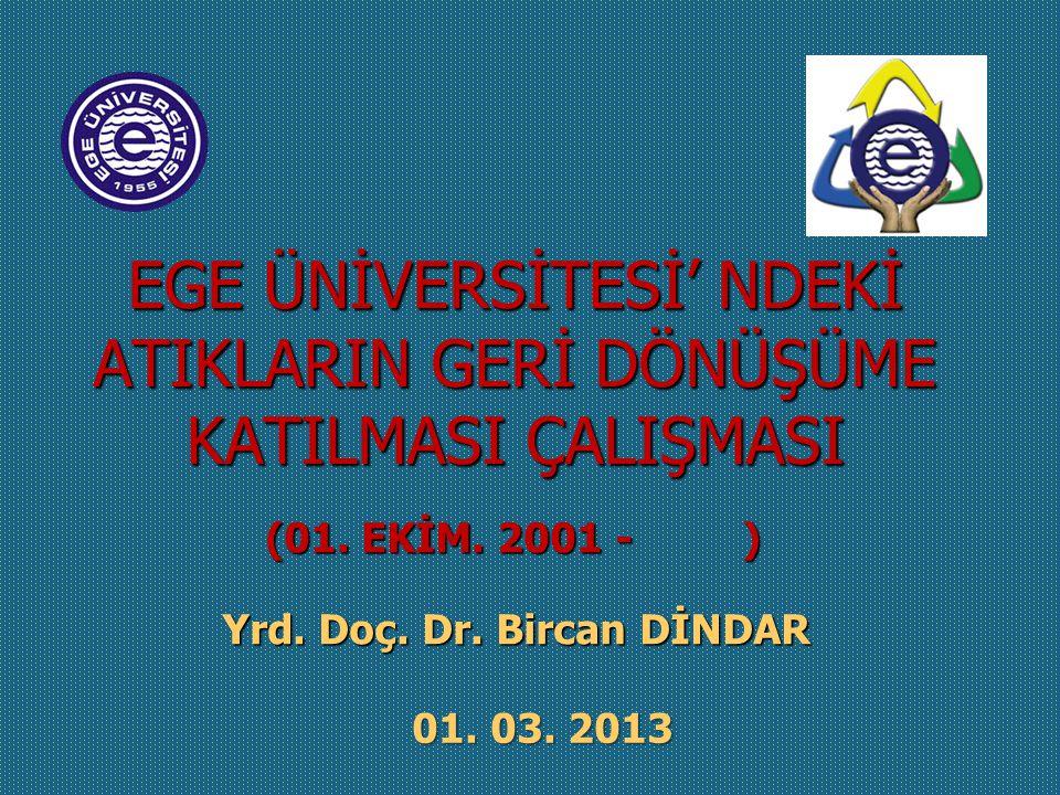 EGE ÜNİVERSİTESİ' NDEKİ ATIKLARIN GERİ DÖNÜŞÜME KATILMASI ÇALIŞMASI 01.