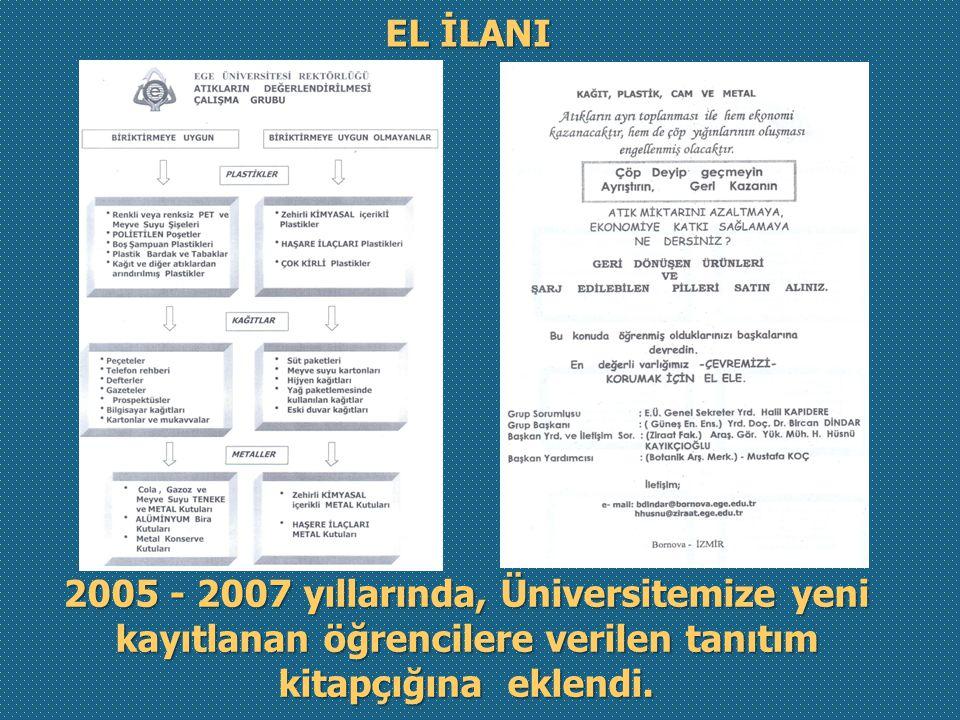 EL İLANI 2005 - 2007 yıllarında, Üniversitemize yeni kayıtlanan öğrencilere verilen tanıtım kitapçığına eklendi.