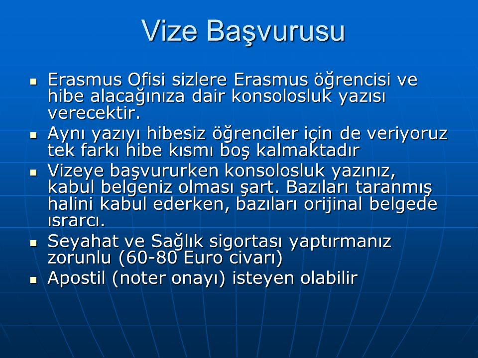 Vize Başvurusu Erasmus Ofisi sizlere Erasmus öğrencisi ve hibe alacağınıza dair konsolosluk yazısı verecektir. Erasmus Ofisi sizlere Erasmus öğrencisi