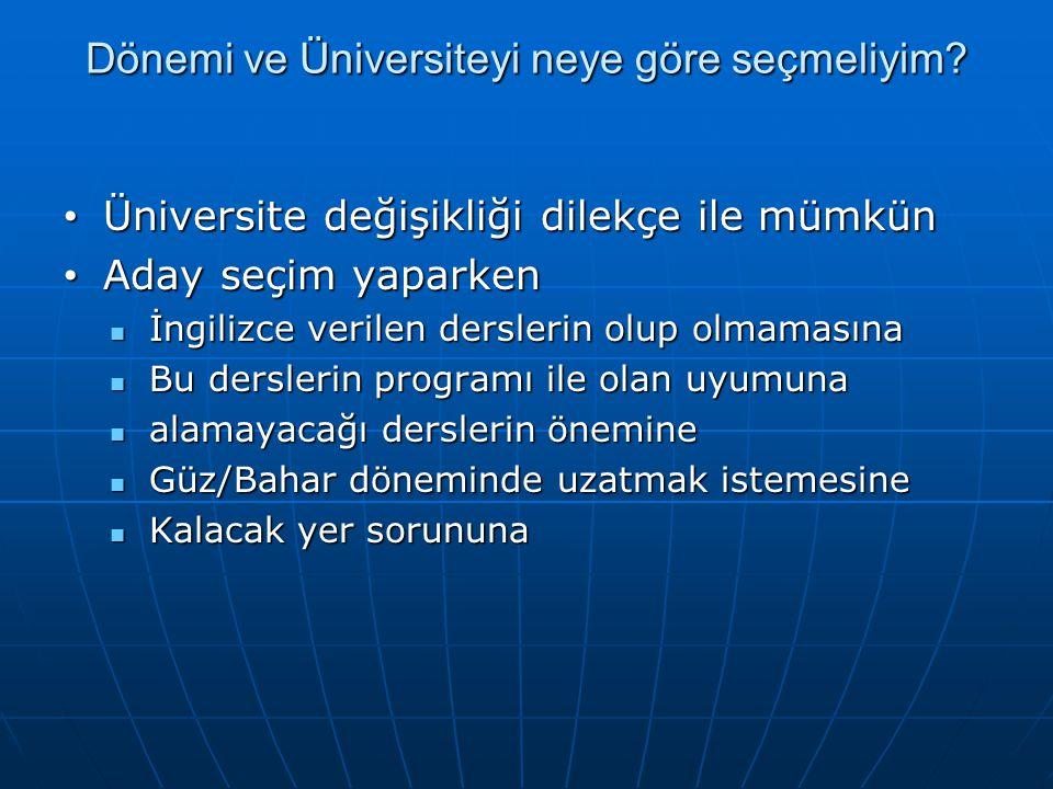 Dönemi ve Üniversiteyi neye göre seçmeliyim.