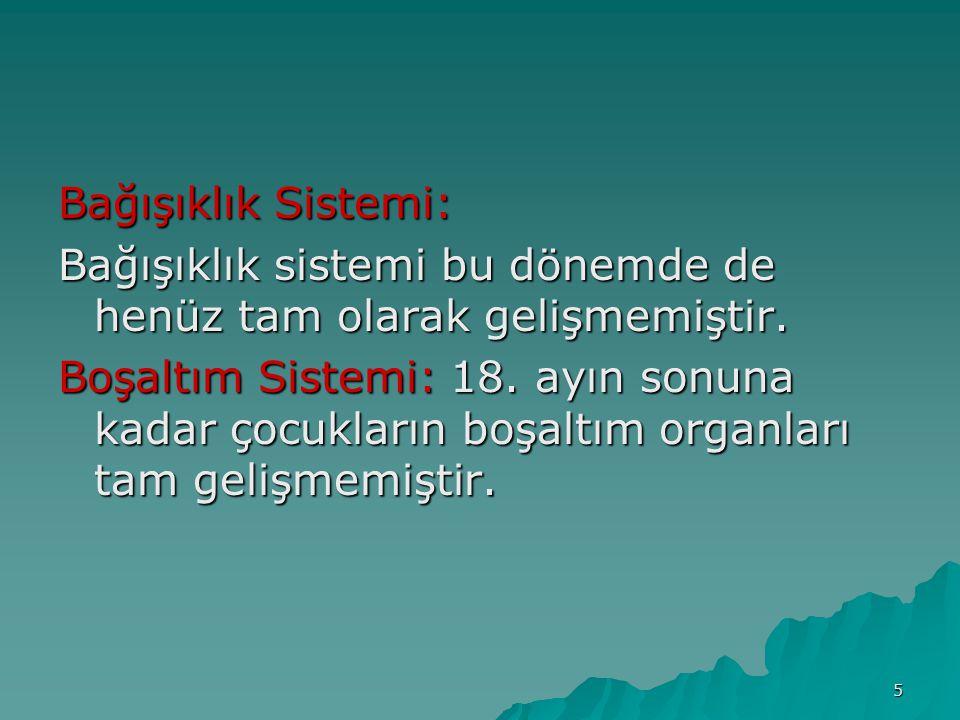 5 Bağışıklık Sistemi: Bağışıklık sistemi bu dönemde de henüz tam olarak gelişmemiştir. Boşaltım Sistemi: 18. ayın sonuna kadar çocukların boşaltım org