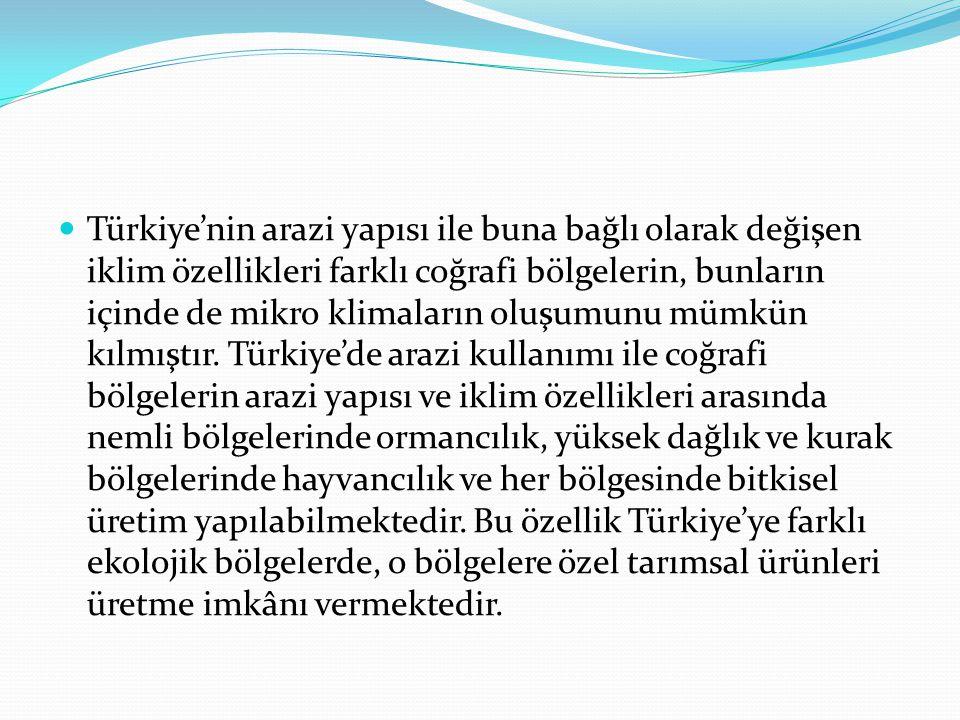 Türkiye'nin arazi yapısı ile buna bağlı olarak değişen iklim özellikleri farklı coğrafi bölgelerin, bunların içinde de mikro klimaların oluşumunu mümk