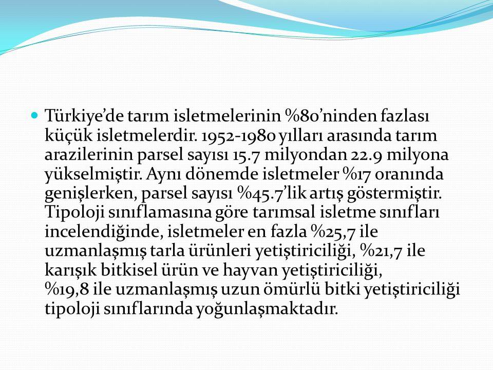 Türkiye'de tarım isletmelerinin %80'ninden fazlası küçük isletmelerdir. 1952-1980 yılları arasında tarım arazilerinin parsel sayısı 15.7 milyondan 22.