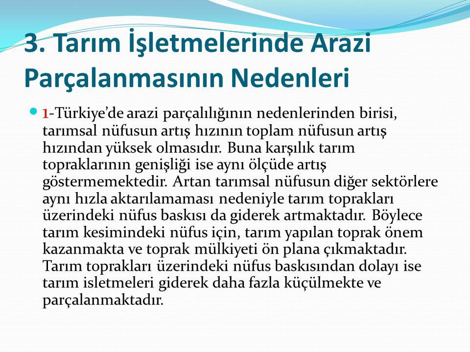 3. Tarım İşletmelerinde Arazi Parçalanmasının Nedenleri 1 -Türkiye'de arazi parçalılığının nedenlerinden birisi, tarımsal nüfusun artış hızının toplam