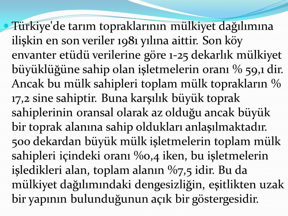 Türkiye'de tarım topraklarının mülkiyet dağılımına ilişkin en son veriler 1981 yılına aittir. Son köy envanter etüdü verilerine göre 1-25 dekarlık mül