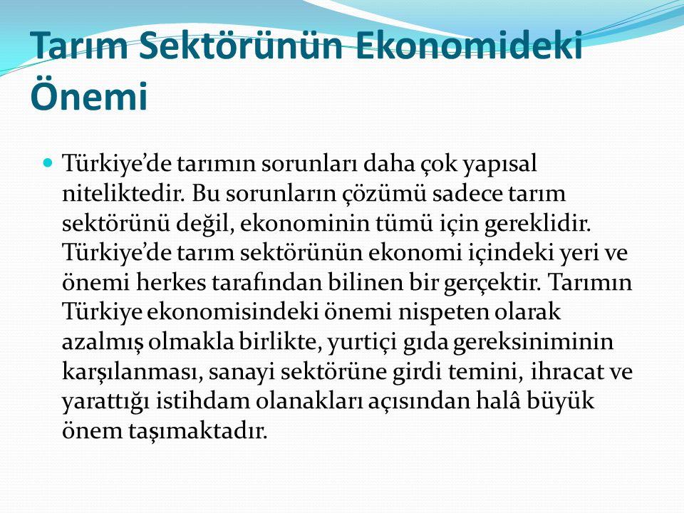 Tarım Sektörünün Ekonomideki Önemi Türkiye'de tarımın sorunları daha çok yapısal niteliktedir. Bu sorunların çözümü sadece tarım sektörünü değil, ekon