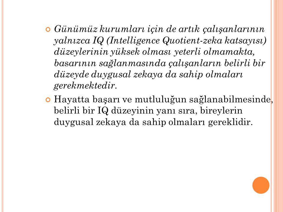 Günümüz kurumları için de artık çalışanlarının yalnızca IQ (Intelligence Quotient-zeka katsayısı) düzeylerinin yüksek olması yeterli olmamakta, ba s a