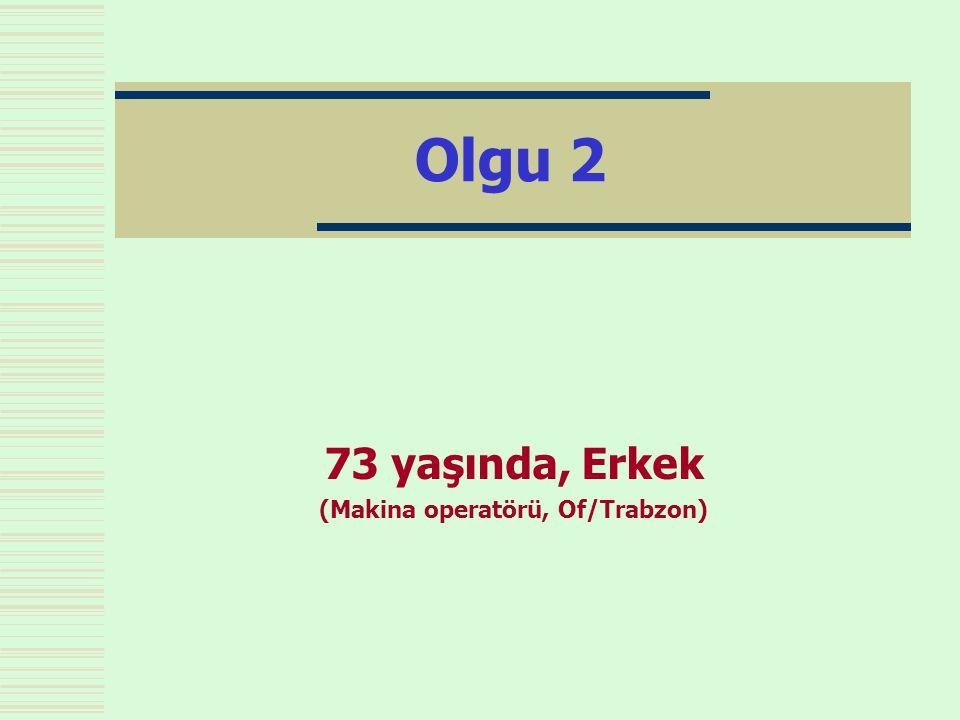 Olgu 2 73 yaşında, Erkek (Makina operatörü, Of/Trabzon)