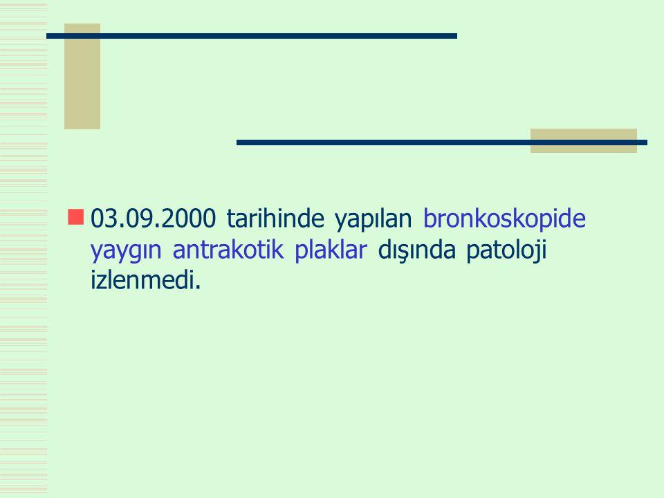  03.09.2000 tarihinde yapılan bronkoskopide yaygın antrakotik plaklar dışında patoloji izlenmedi.