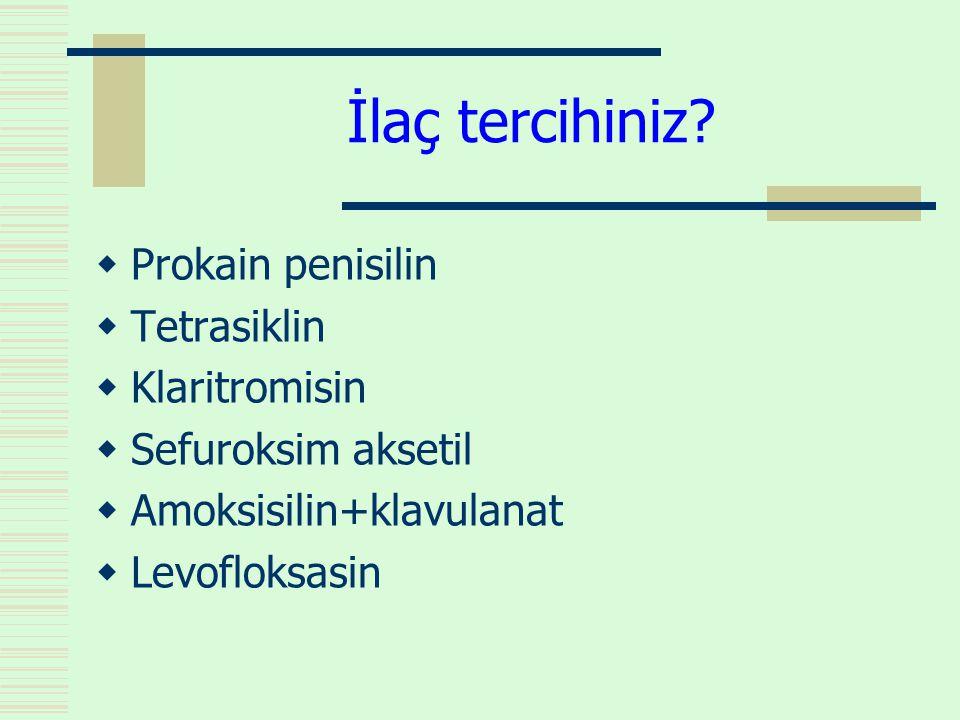 İlaç tercihiniz?  Prokain penisilin  Tetrasiklin  Klaritromisin  Sefuroksim aksetil  Amoksisilin+klavulanat  Levofloksasin