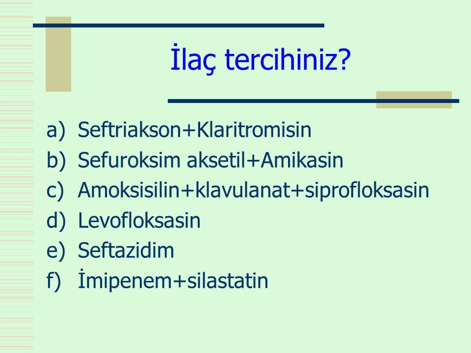 İlaç tercihiniz? a)Seftriakson+Klaritromisin b)Sefuroksim aksetil+Amikasin c)Amoksisilin+klavulanat+siprofloksasin d)Levofloksasin e)Seftazidim f)İmip