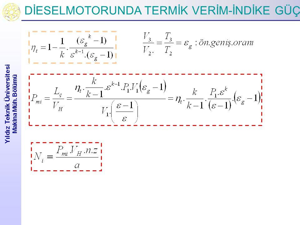 DİESELMOTORUNDA TERMİK VERİM-İNDİKE GÜÇ Yıldız Teknik Üniversitesi Makina Müh. Bölümü